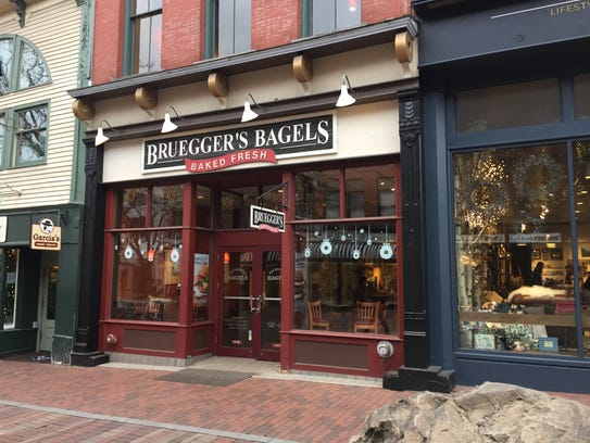 Bruegger's Bagels on Church Street in Burlington, pictured
