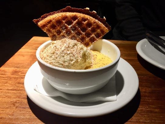 Maggie's waffle with Zabaglione and lemon curd gelatos
