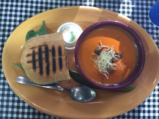The Terra Special and tomato basil bisque soup at Green