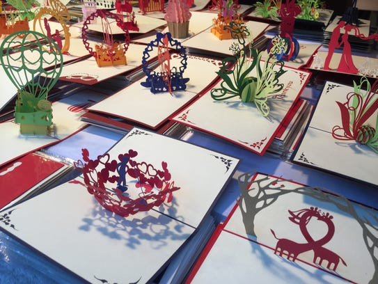 Hand cut paper greeting cards at the Luzern Christmas