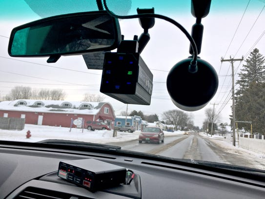 Equipment in the cruiser of Vermont State Trooper Jay