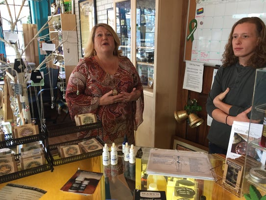 Kim Loeffler and her son, Jordan, sell CBD products