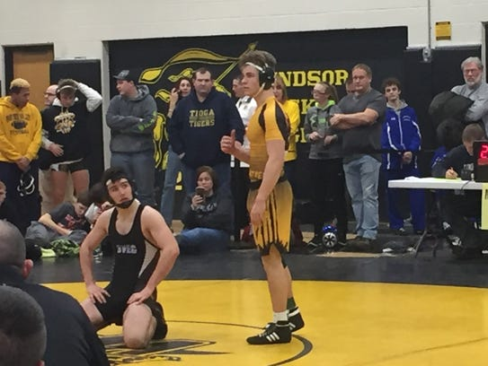 Panther Valley's Tanner Kennedy prepares to wrestle