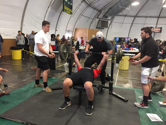 Calvary's John David May benches 275 pounds during