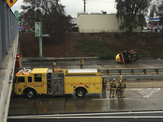 Visalia firefighters are on scene at a traffic collision