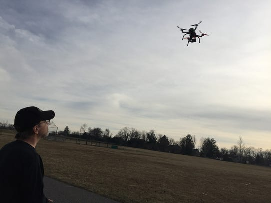Terry Leese, of Dover Township, flies his drone at