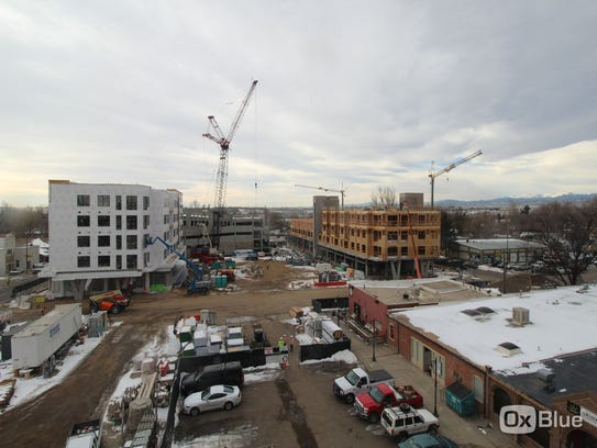 Time-lapse image of construction progress on downtown