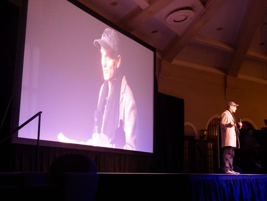 "Actor Woody Harrelson introduces his film ""Lost in London"" at the Iowa Memorial Union in Iowa City on Thursday, Jan. 25, 2018."