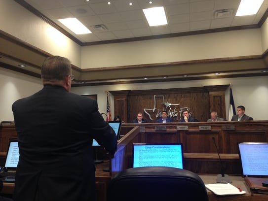 In this file photo, Deputy City Manager Jim Dockery speaks to the Wichita Falls City Council during a work session about the upcoming bond election.