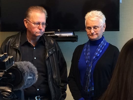 Dave and Diane Beck speak at a press conference Friday