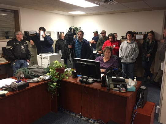 Members of Speedwell Fire Company formed a standing-room-only