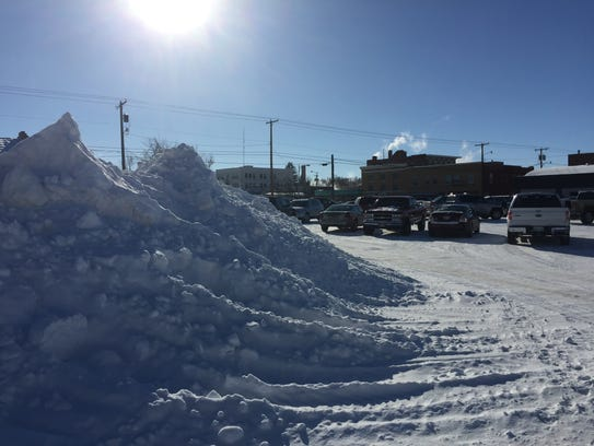 One of the more impressive snow piles in downtown Havre