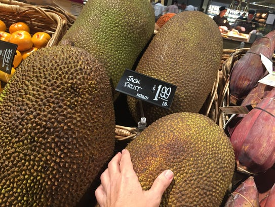 Fresh jackfruit is a huge, knobby orb native to India.