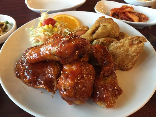 Korean fried chicken, light and crisp, come plain or