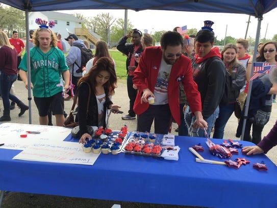 Jefferson High School students enjoy cupcakes Tuesday