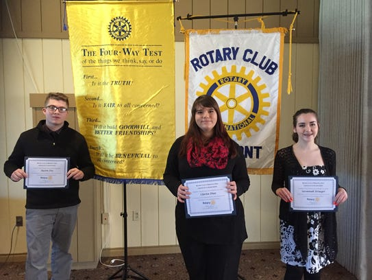 "From left, Fremont Rotary Club's ""Four-Way Speech Contest"""
