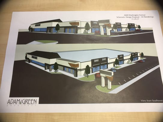 Renderings of a redevelopment plan for the former Schnucks