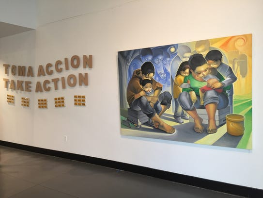 """El Despojo"" by Jose Ortiz with Take Action in background"