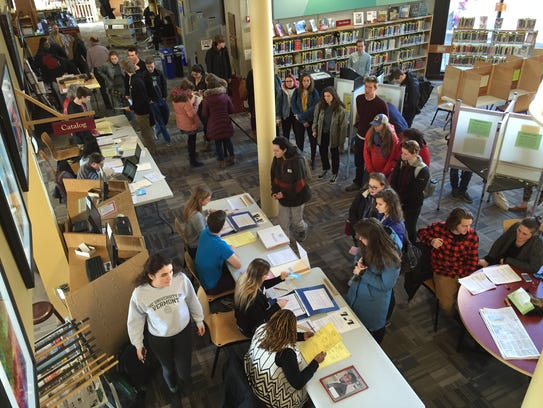 A student-heavy crowd filled Fletcher Free Library