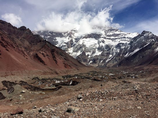The route to base camp on Aconcagua is free of snow