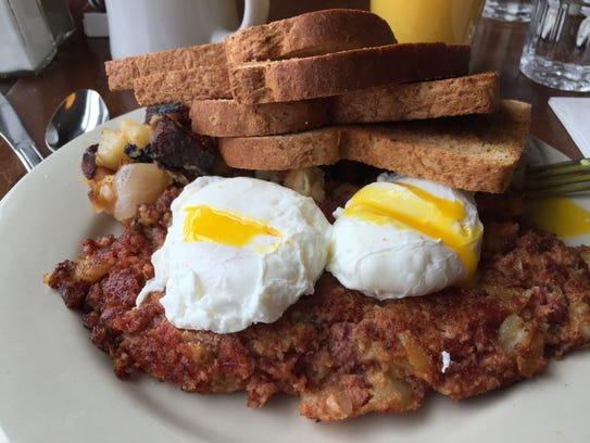 The corned-beef hash and eggs at Sneakers Bistro in