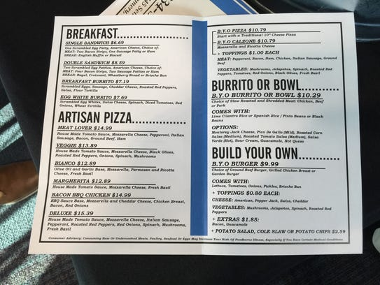 A menu shows some of the food on offer at Runway 28