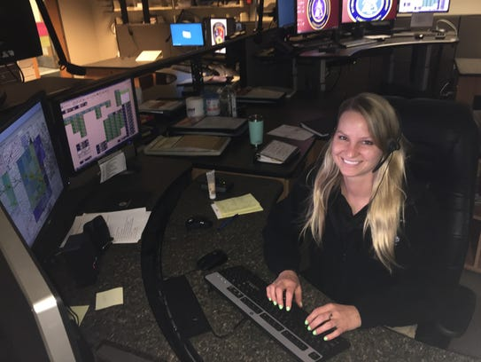 Livingston County dispatcher Nikki Wagner at work.