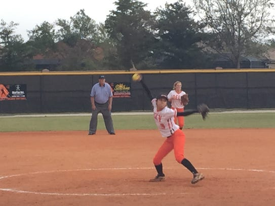 Lely pitcher Sara Leon delivers to the plate during