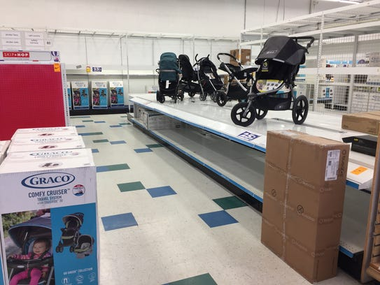 Several strollers are still on display at the Babies