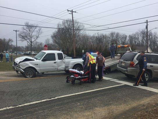 No serious injuries were reported after a three-vehicle