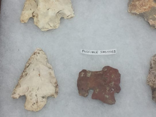 Stone points found at the Smallin Civil War Cave site