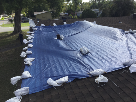 The roof over Harry and Gladys Lamb's home was covered
