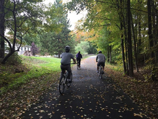 Bikers on the Harlem Valley Rail Trail.