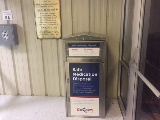 A drop-off box for unwanted medications is in the lobby of the Chincoteague Town Offices and Police Department at 6150 Community Drive on Chincoteague, Va. The box is accessible to the public 24 hours a day.