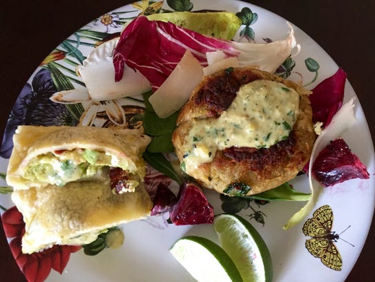 Stuffed puff pastries, salad and crab cakes are a light