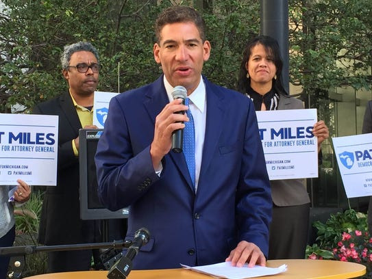 Democratic attorney general candidate Pat Miles officially kicked off his campaign on Thursday, Sept. 28, 2017, in Detroit.