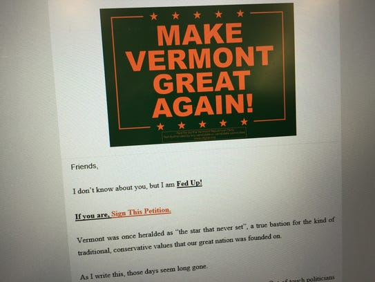 An email from the Vermont Republican Party, sent on
