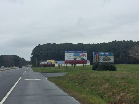 Signs along Route 13 in Northampton County, Virginia