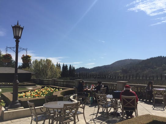 Visitors take to the terrace in March 2018 at Ferrari-Carano