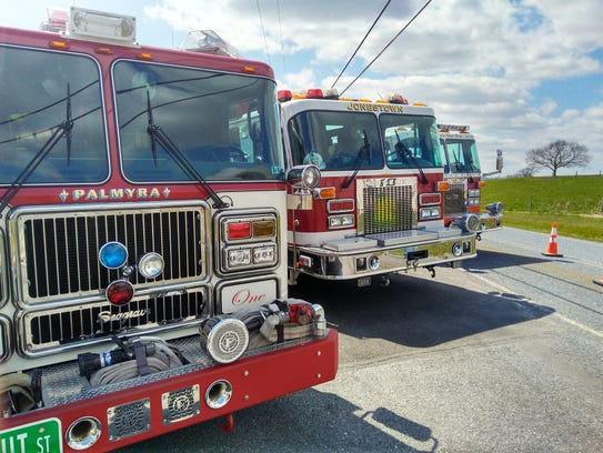 Fire trucks from various Lebanon County fire companies