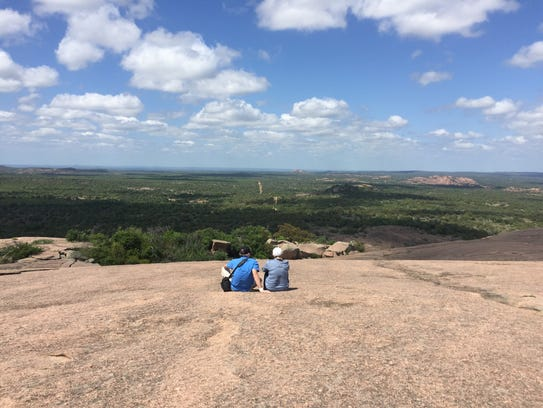 The view of the Texas Hill Country from atop Enchanted