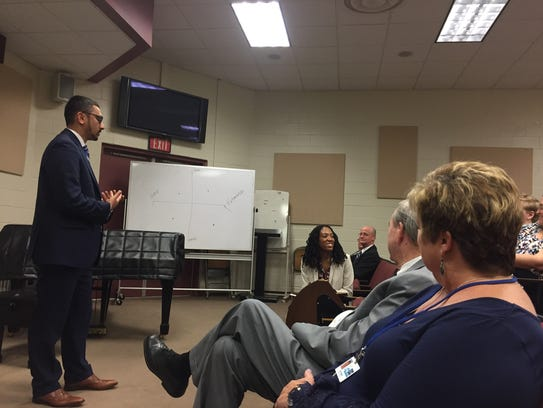 Virginia Secretary of Education Atif Qarni speaks during