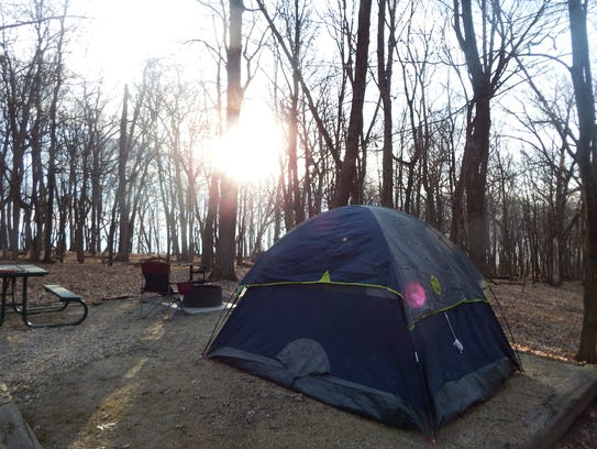 A campsite with tent at Pike's Peak State Park on April