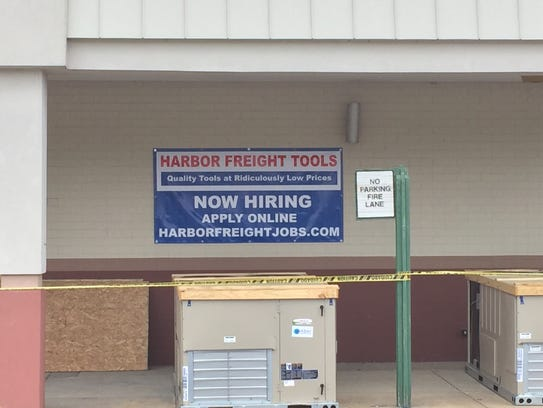 A sign in front of the new Harbor Freight Tools in