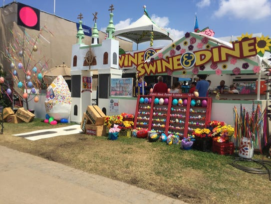Swine and Dine decorated its tent with an Easter theme because Easter is a large celebration in the Czech Republic.
