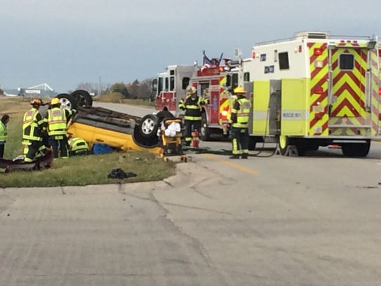 A two-vehicle crash has closed the westbound lanes