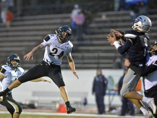 Billings West Si Ryan, #24, plays defense on pass intended