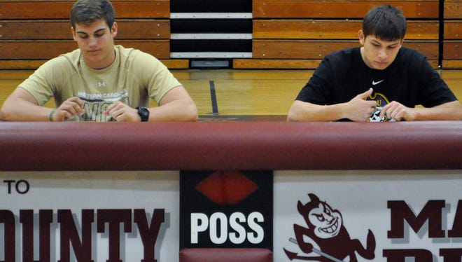 Swain County's Zach Weeks, left, and Raymius Smith.