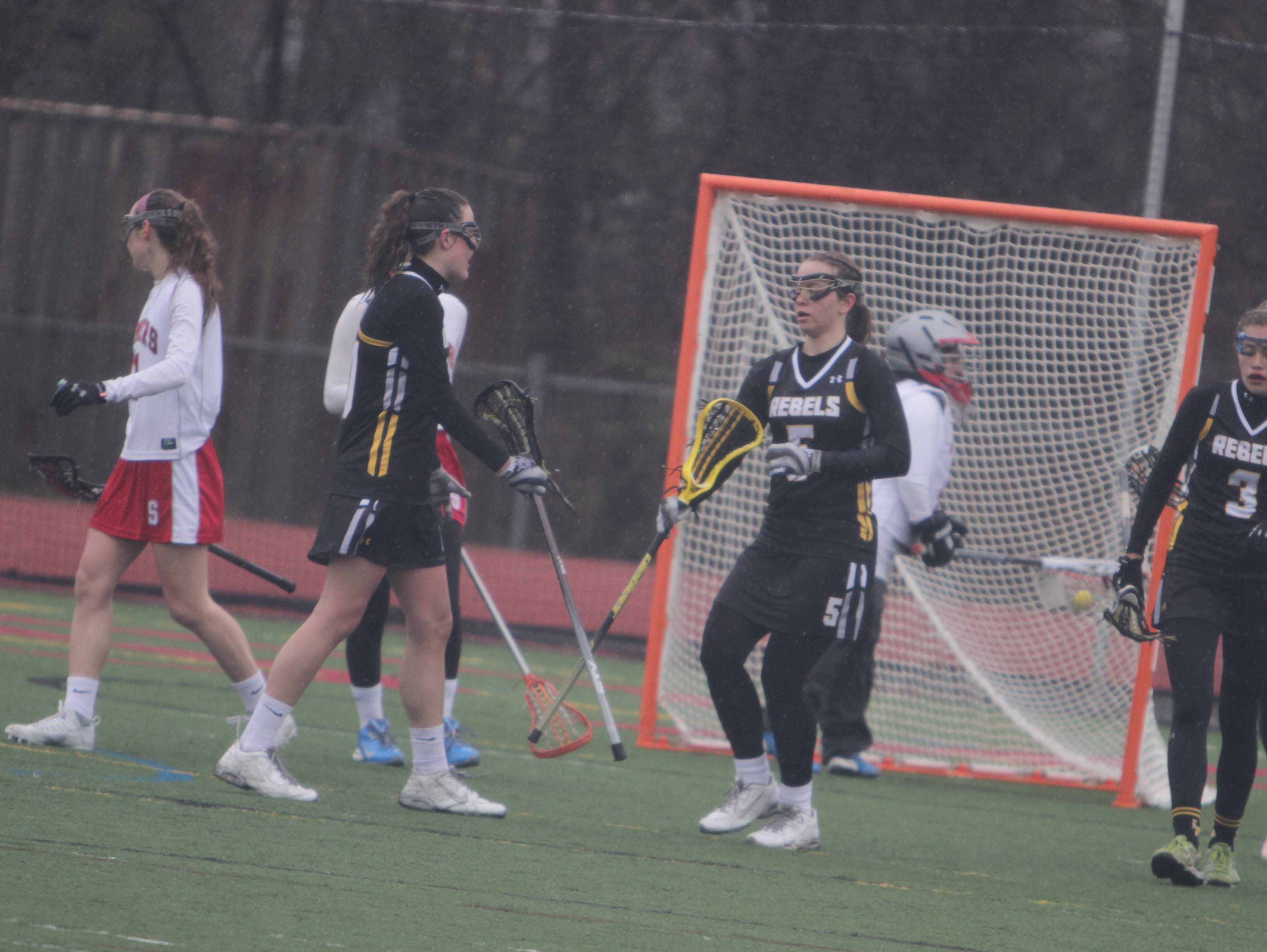 Game action during a Section 1 girls lacrosse game between Somers and Lakeland/Panas at Somers High School on Monday, March 28th, 2016. Somers won 15-8.