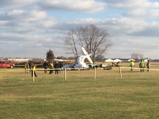 Crews respond to a plane crash at Erie-Ottawa International Airport